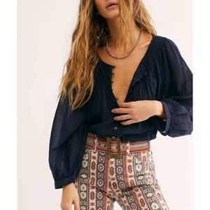 Free People We The Free Cool Meadow Blue Blouse